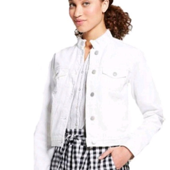 a new day Jackets & Blazers - A New Day Frayed Collar White Denim Jacket